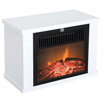 Chimenea eléctrica Homcom® de 1200 W, chimenea vertical con efecto llama, color blanco