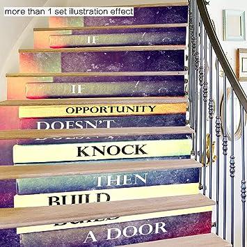 skwff 3D Pegatinas de escalera Impermeable pegatina de pared decorativo para cuartos Alfabeto inglés 3d pegatinas impermeables decorativas sala de estar autoadhesiva centro: Amazon.es: Bricolaje y herramientas