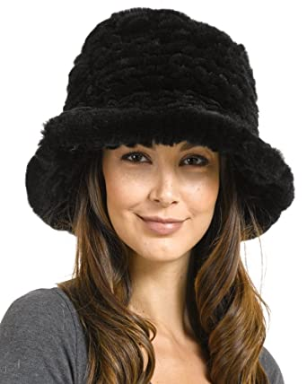 0f3627ba6978c frr Estelle Black Rex Rabbit Fur Bucket Hat at Amazon Women s ...