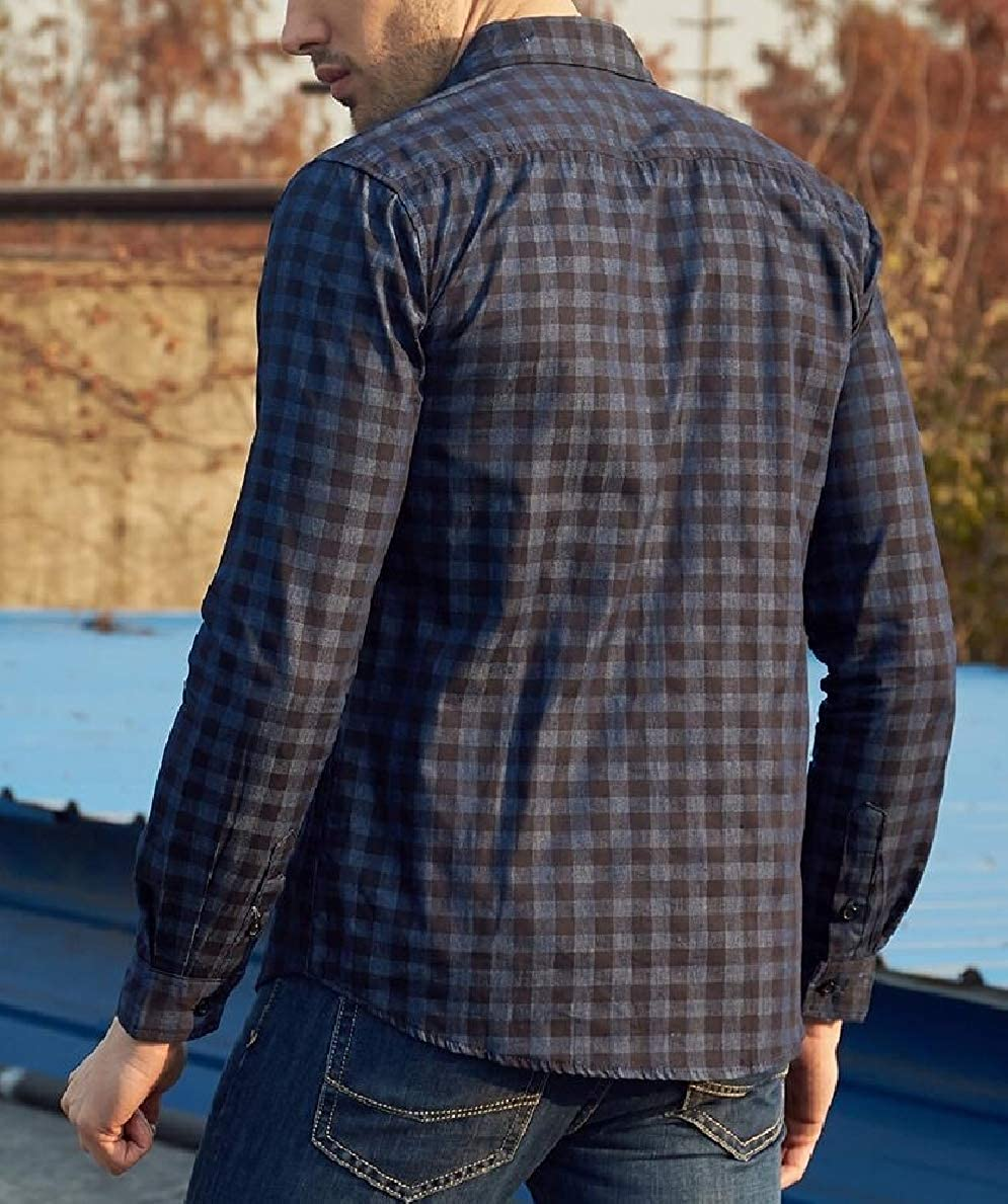 FLCH+YIGE Men Simple Slim Fit Long Sleeve Plaid Button-Down Checked Dress Shirt