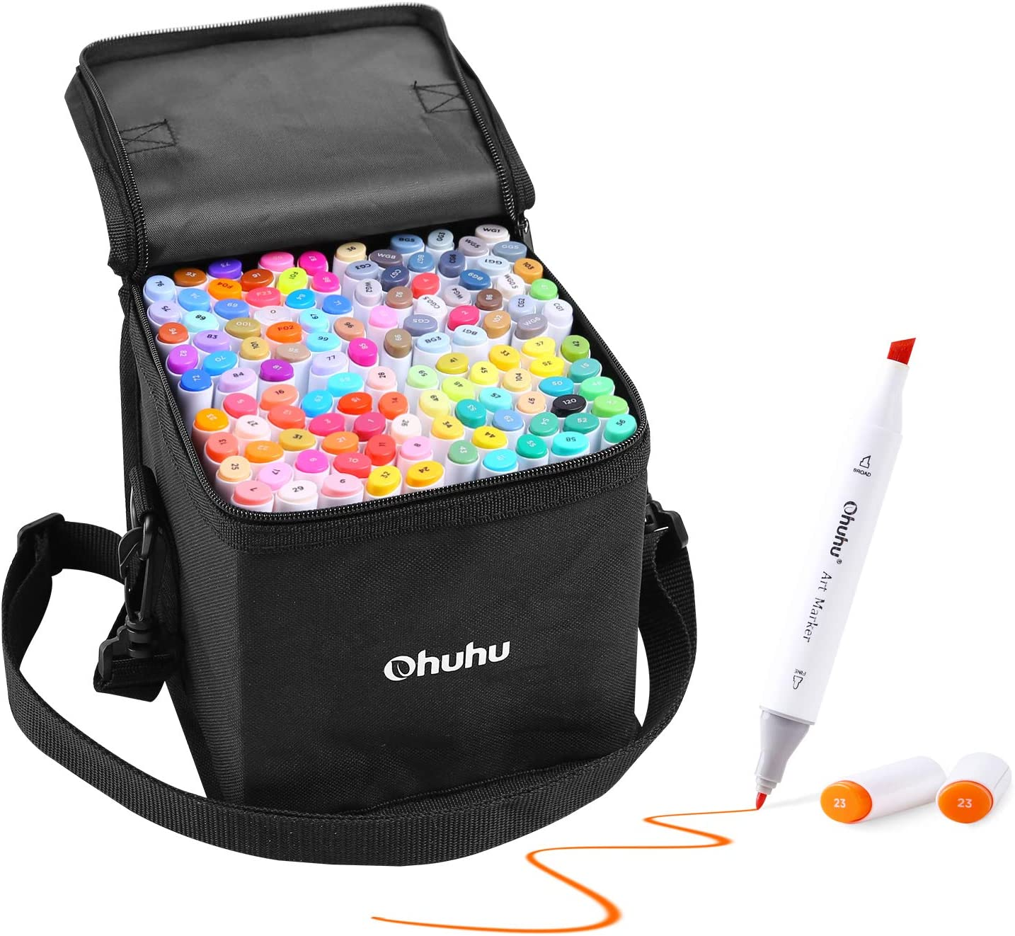 Ohuhu illustration Marker 120 Colors Thick and thin Carrying Case
