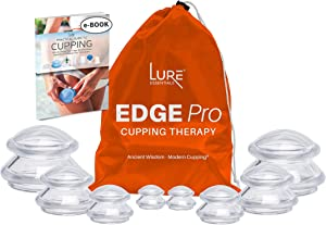 Lure Edge Cupping Therapy Sets - Silicone Cups for Cupping Professional Choice 8 Cups (Clear), Firm