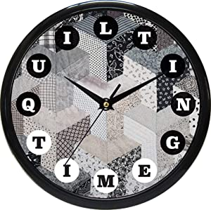 Quilting Time Clock - City Scape - Custom Quilt Design Wall Clock with Precision Quartz Quality Silent Non Ticking Sweeping Mechanism Perfect for Any Room. Makes a Great Gift.