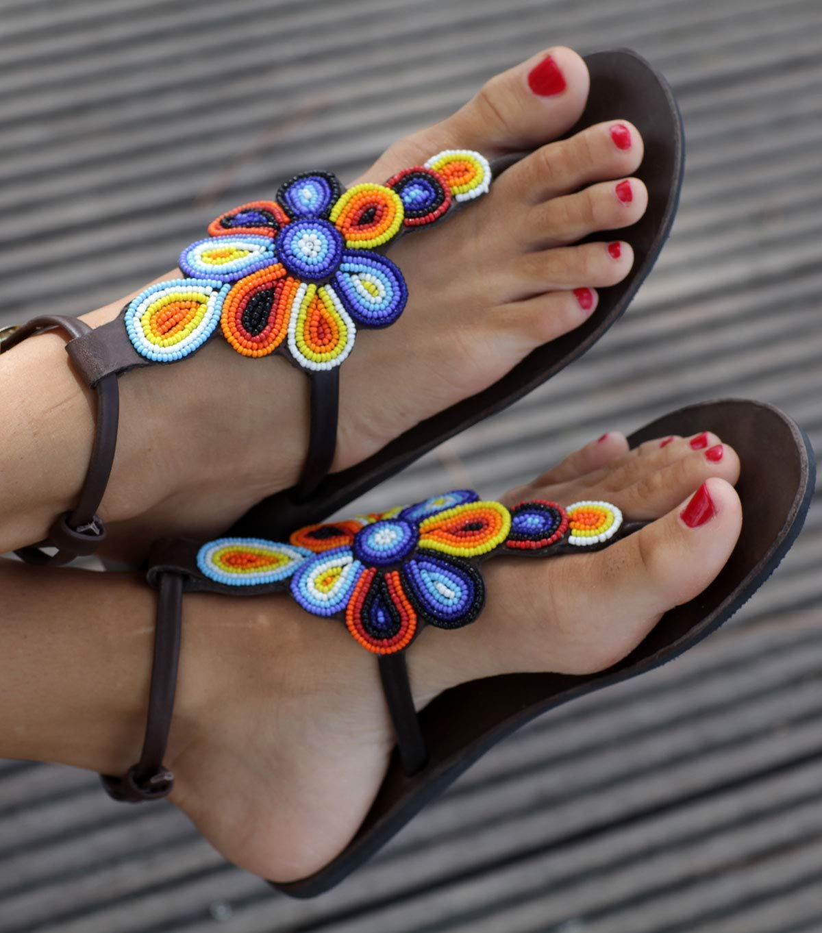 B07H5KGP38 GlobalHandmade Brown Leather Sandals Woman Greek Shoes Vintage Style Beaded-Floral-Flip Flops-Hippie-BOHO-Tribal-Shoes-Summer-Handmade Sandals-Floral sandals 71nazu-4abL
