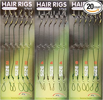 8 x Carp Fishing KD Hair Rigs Hooks Size 8 Barbless With 20lb Braid