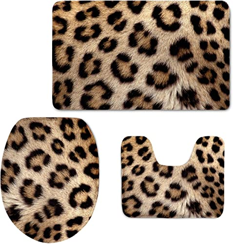 Coloranimal Fashion Leopard Pattern Non Slip Bath Mat Contour Carpets Toilet Lid Cover