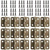 Kleine Mini scharnieren, 50 packs kast lade deur borst butt scharnieren connectoren met 200 stuks 8 mm mini messing…