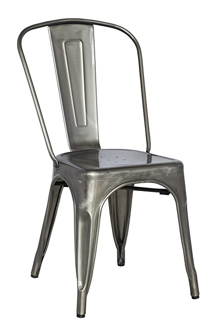Merveilleux Chintaly Imports Galvanized Steel Side Chair With, Set Of 4, Gun Metal