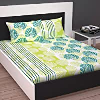Divine Casa 100% Cotton Double Bedsheet with 2 Pillow Covers