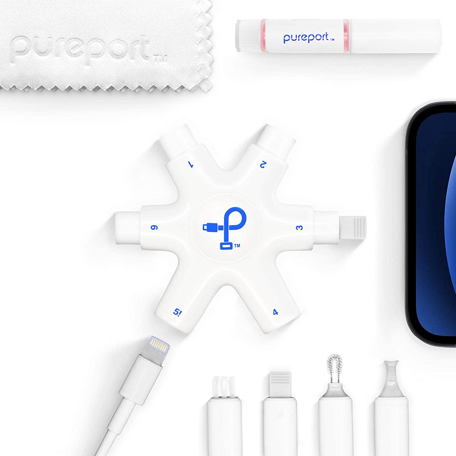 PurePort Multi-Tool Kit – Clean & Repair iPhone and iPad Lightning Ports, Cables and Connectors. Remove Lint, Dust, Dirt Safely and Easily. Fix Unreliable Charging and Bad Connections.