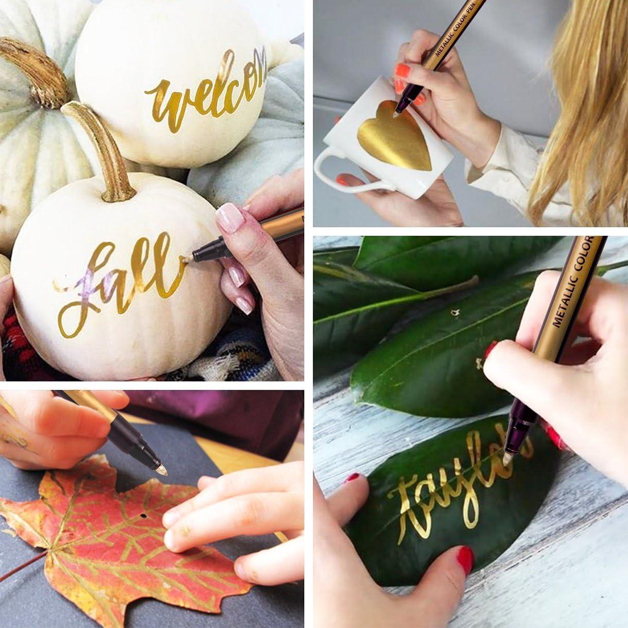 Uso per Scrapbooking Pennarelli Metallici creazione di Cartoline Album di Foto Fai-da-Te 10 Colori Pennarelli per pitture in Metallo Medio Fine Point con e 1 Sacchetto per matite 1 lapiz mecanico