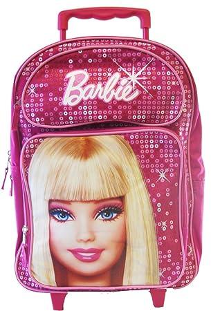 Fashion Barbie Girls Backpack- Full size Barbie Wheeled Backpack ...