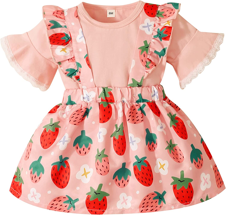 Baby Girl Short Sleeve Pink Suspender Skirt Set Shirt+Overall Skirt Outfit 3-24M: Clothing
