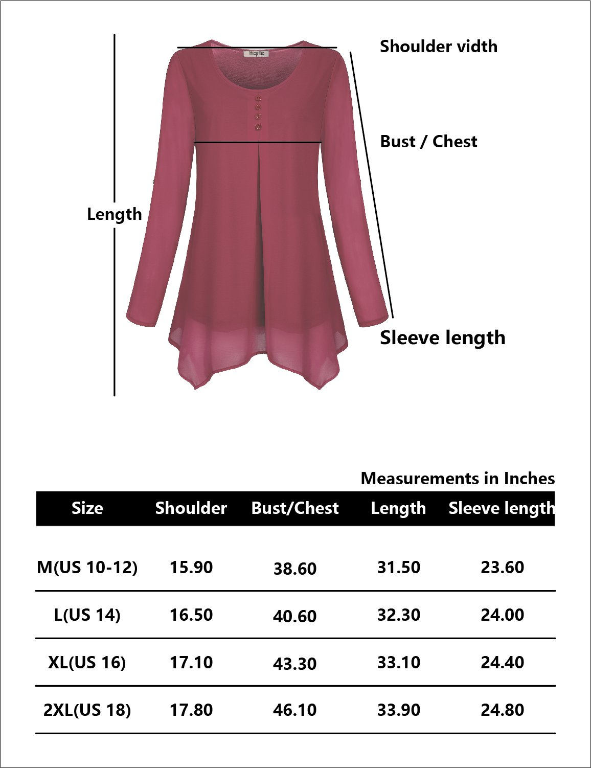 Hibelle Flowy Tops for Women, Ladies Flattering Red Blouses Medium Long Sleeve Pleated Crepe Tunic Shirts Double Layering Chiffon Pullover Shirring Drape Curved Attire Simple Easy Fit Tee Soft M by Hibelle (Image #4)