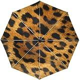 FAJRO- Paraguas de Viaje con patrón de Piel de Leopardo, Resistente al Viento, Paraguas automático para Lluvia al…