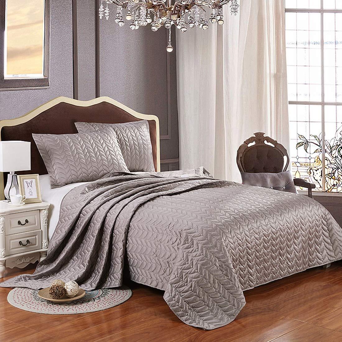 影寳服装店 スリーピースベッド3ピース承認ベッドカバーポリエステルポリエステルキルティングエアコンは、ホームに適用されています (色 : ブラウン) B07RZ9Z9Y2 ブラウン