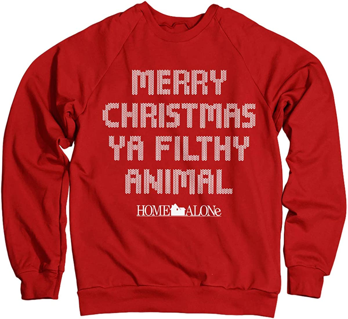 Officially Licensed Merry Christmas Ya Filthy Animal Sweatshirt (Red)