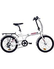 """giordanoshop Bicicletta Pieghevole 20"""" in Alluminio 6V Denver Bike Folding 20 Bianca"""