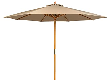 9u0027 Wood Frame Patio Umbrella By Trademark Innovations ...