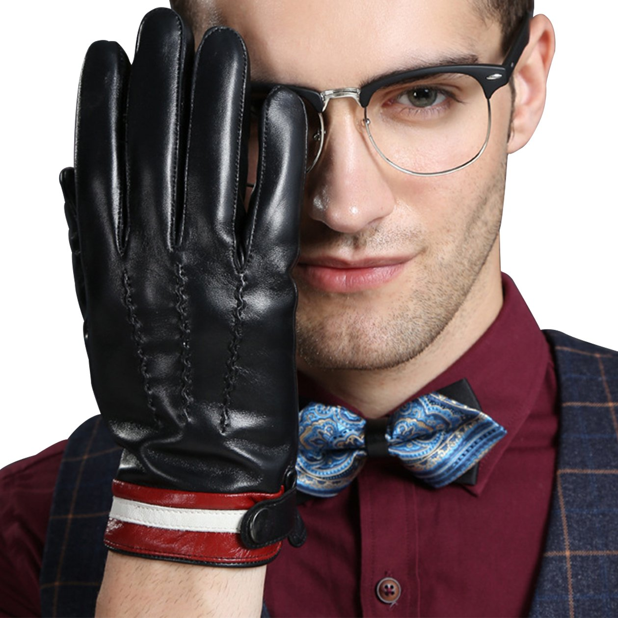 KelaSip Leather Gloves Touch Screen Winter Sheepskin Warm Business Fashion
