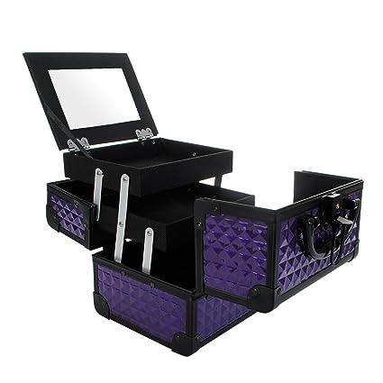 Maletín Para Maquillaje con Espejo Caja de Cosméticos Estuches de Maquillaje, 19.5 x 15 x