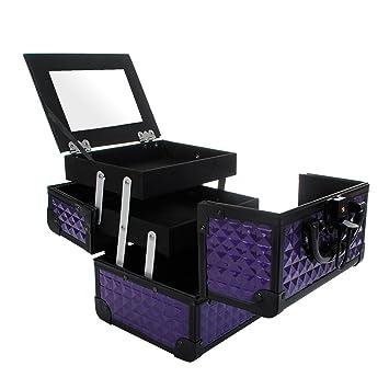 Maletín Para Maquillaje con Espejo Caja de Cosméticos Estuches de Maquillaje, 19.5 x 15 x 16 cm, Violeta