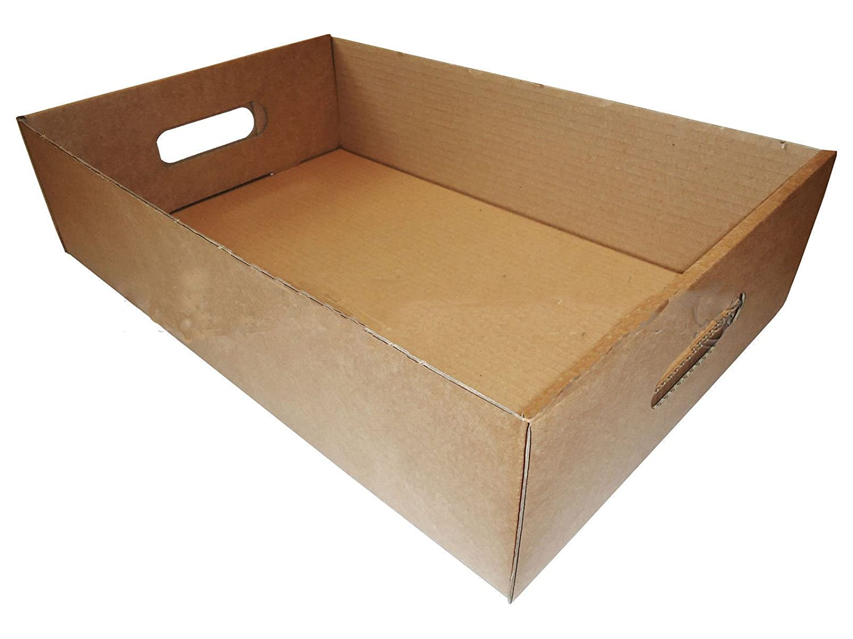 Bandejas de fruta latas de bebidas cajas de cartón marrón vegetal Herb producir bandejas de almacenamiento cervezas 40,64 cm x 26,67 cm x 10,16 cm (40 x 26 ...
