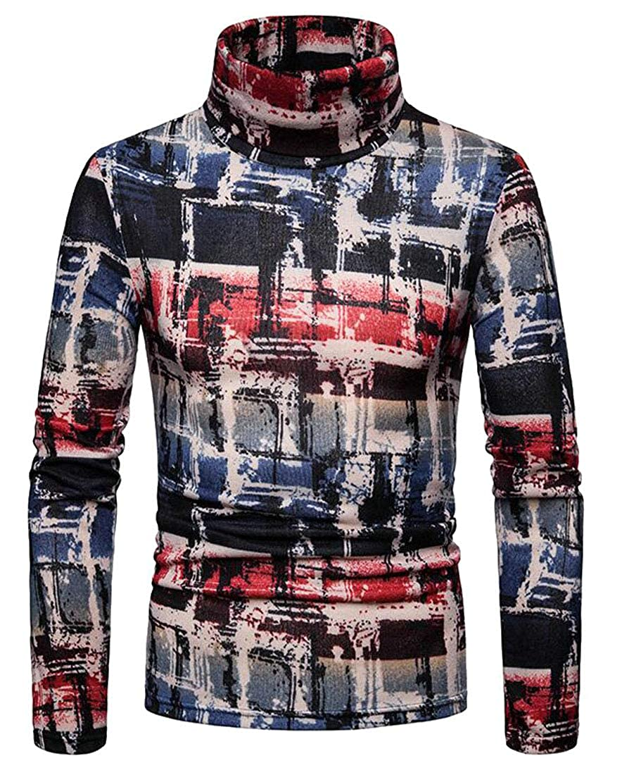 CMCYY Men Classical Turtleneck Jumper Plaid Pullover Sweater