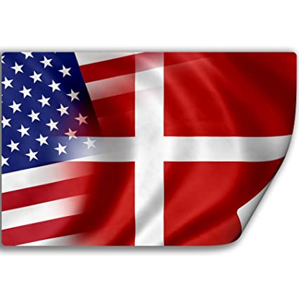 Sticker decal with flag of denmark and usa danish