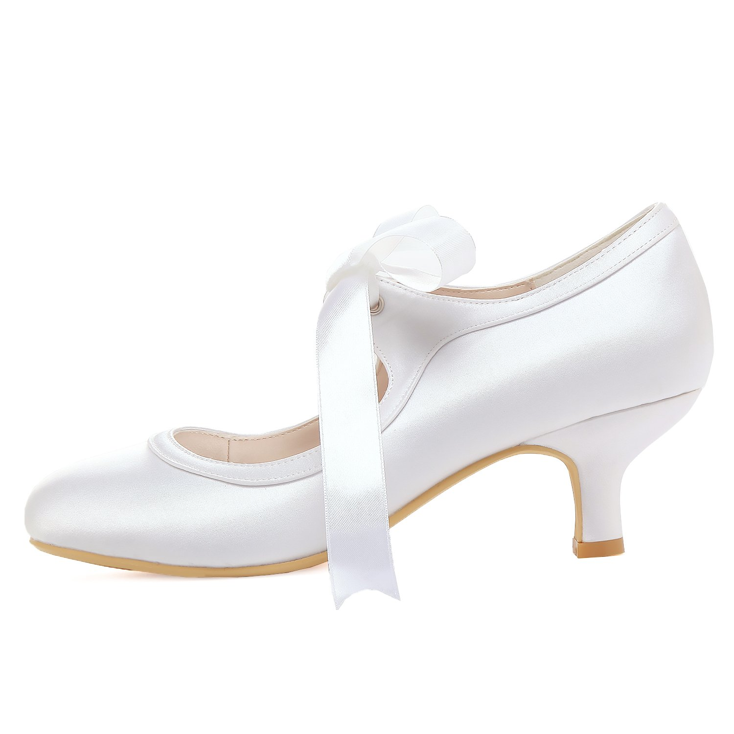 ElegantPark Women Mary Jane Pumps Mid Heel Closed Toe Ribbon Satin Bridal Wedding Shoes Ivory B078NMMVZ4 10 B(M) US|White