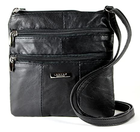 cf8761e2dacc Lorenz Ladies Small Genuine Soft Leather Cross Body   Shoulder Bag (1)    1941 - Black  Amazon.co.uk  Luggage