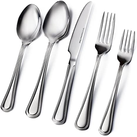 Amazoncom Sagler 20 Piece Flatware Set Extra Thick Heavy Duty