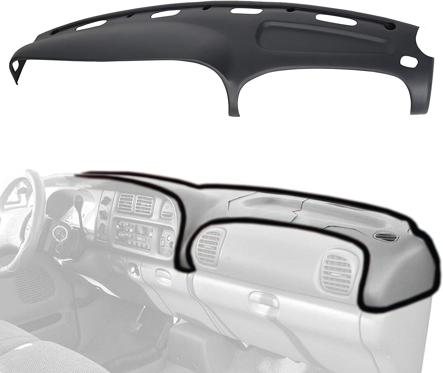 ECOTRIC Dash Board Pad Cover Molded Compatible with 1998-2002 Dodge Ram15002500 3500 - Dash Protector Dashboard Overlay Grey