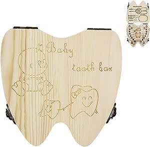 Caja de madera para guardar dientes de leche y lanugo, caja de recuerdo para recuerdos: Amazon.es: Bebé