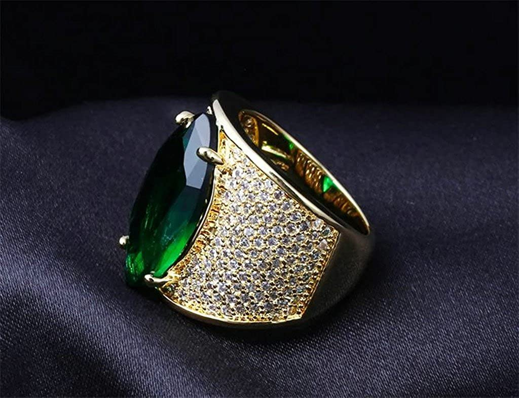 Bishilin 18K Gold Plated Marquise Cut Green AAA Zirconia Women Wedding Band Engagement Rings Size 9