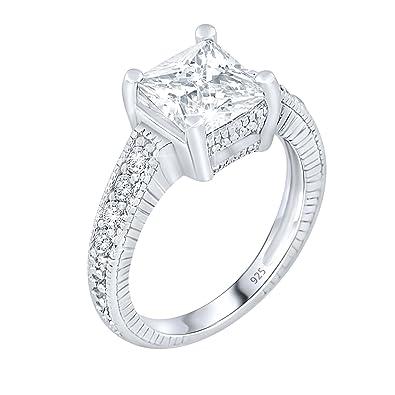 5c7aa554129 Women's Sterling Silver .925 Engagement Ring 3.33 Carat Princess Cut Cubic  Zirconia (CZ) Stone