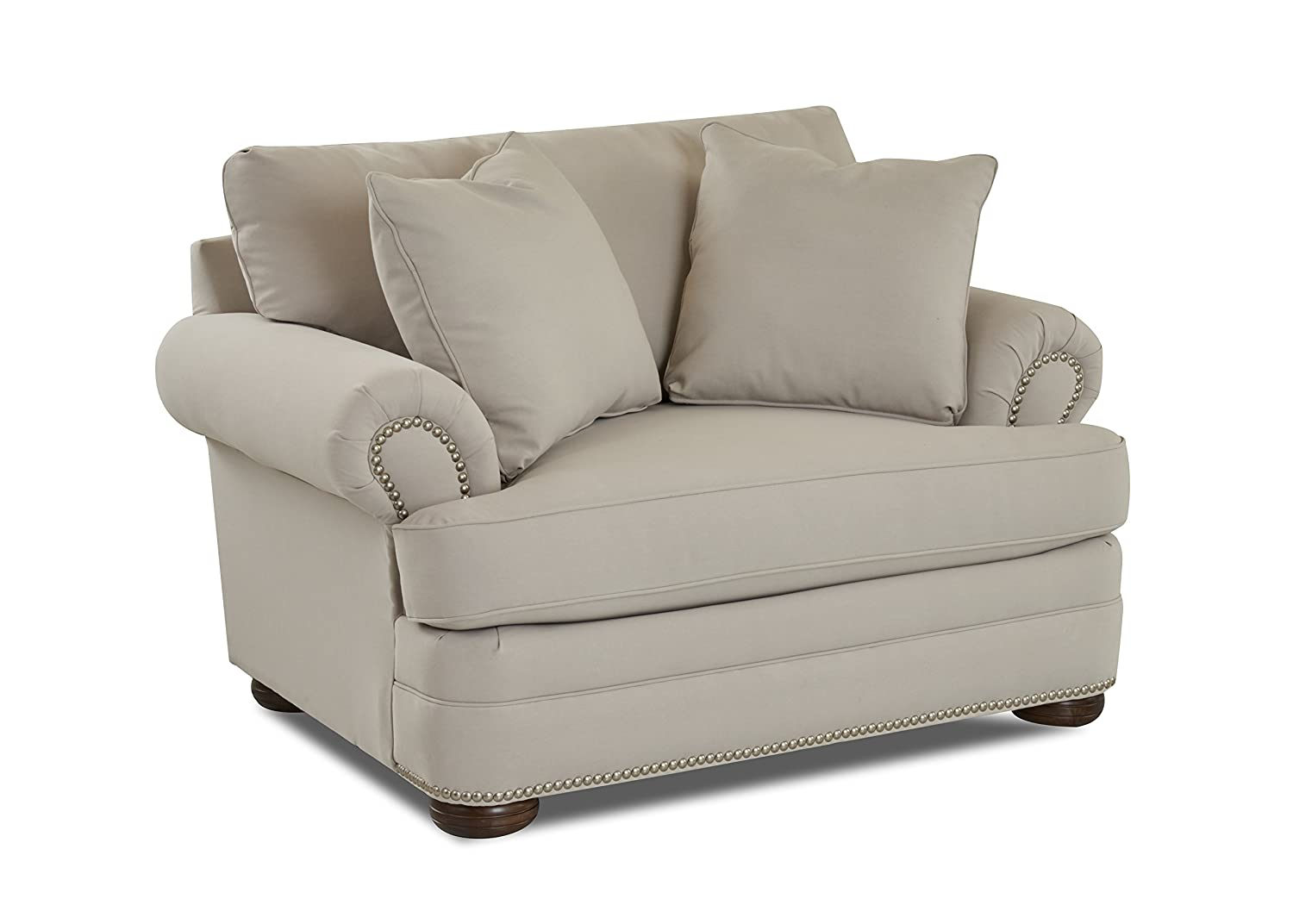 Klaussner Home Furnishings Tilden Accent Armchair with 2 Throw Pillows, 45 L x 54 W x 37 H, Sand