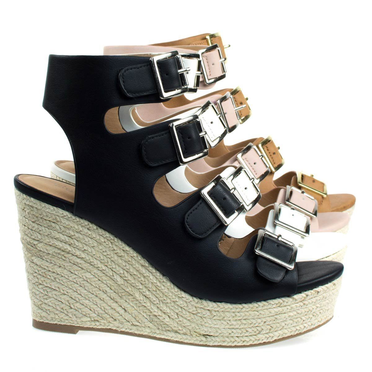 City Classified Hamza Espadrille Wedge Gladiator Buckle Sandals B071HTRM3G 7 B(M) US|Black