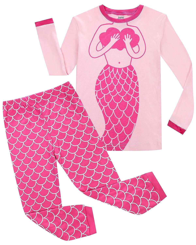 a58affaa5d75 Amazon.com  Joyond Girls Cat Pajamas 100% Cotton Long Pjs Toddler Clothes  Kids Shirts Set(18M-10T)  Clothing