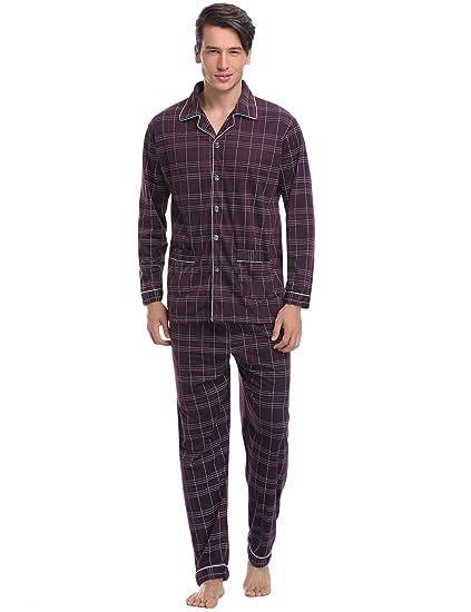 Aibrou Pijama Hombre Invierno Algodón, Pijamas de casa con Boton ...