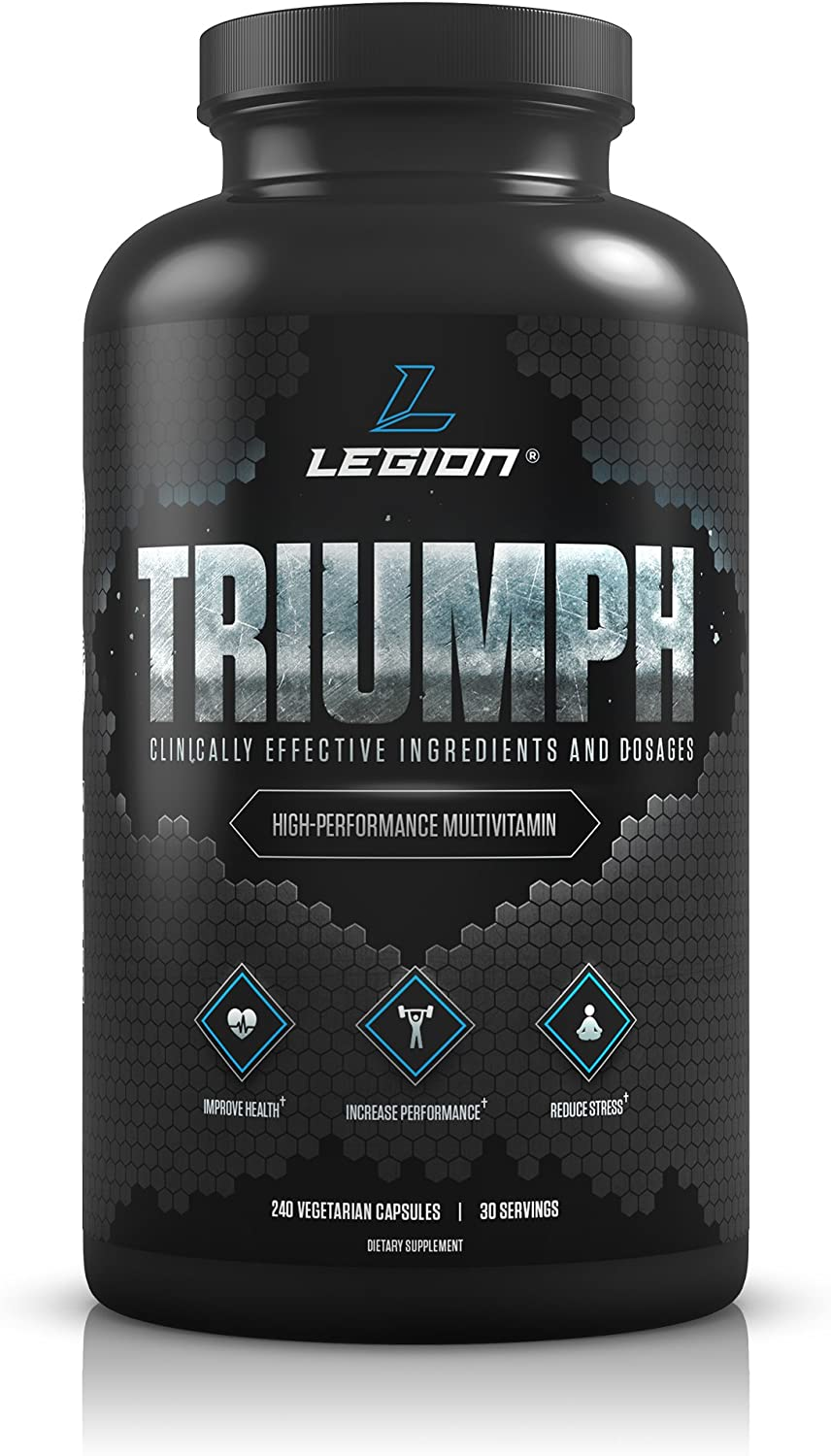 Legion Triumph Daily Multivitamin Supplement – Vitamins and Minerals for Athletes Helps w Mood, Stress, Immune System, Heart Health, Energy, Sports Bodybuilding Workouts. 30 Svgs.