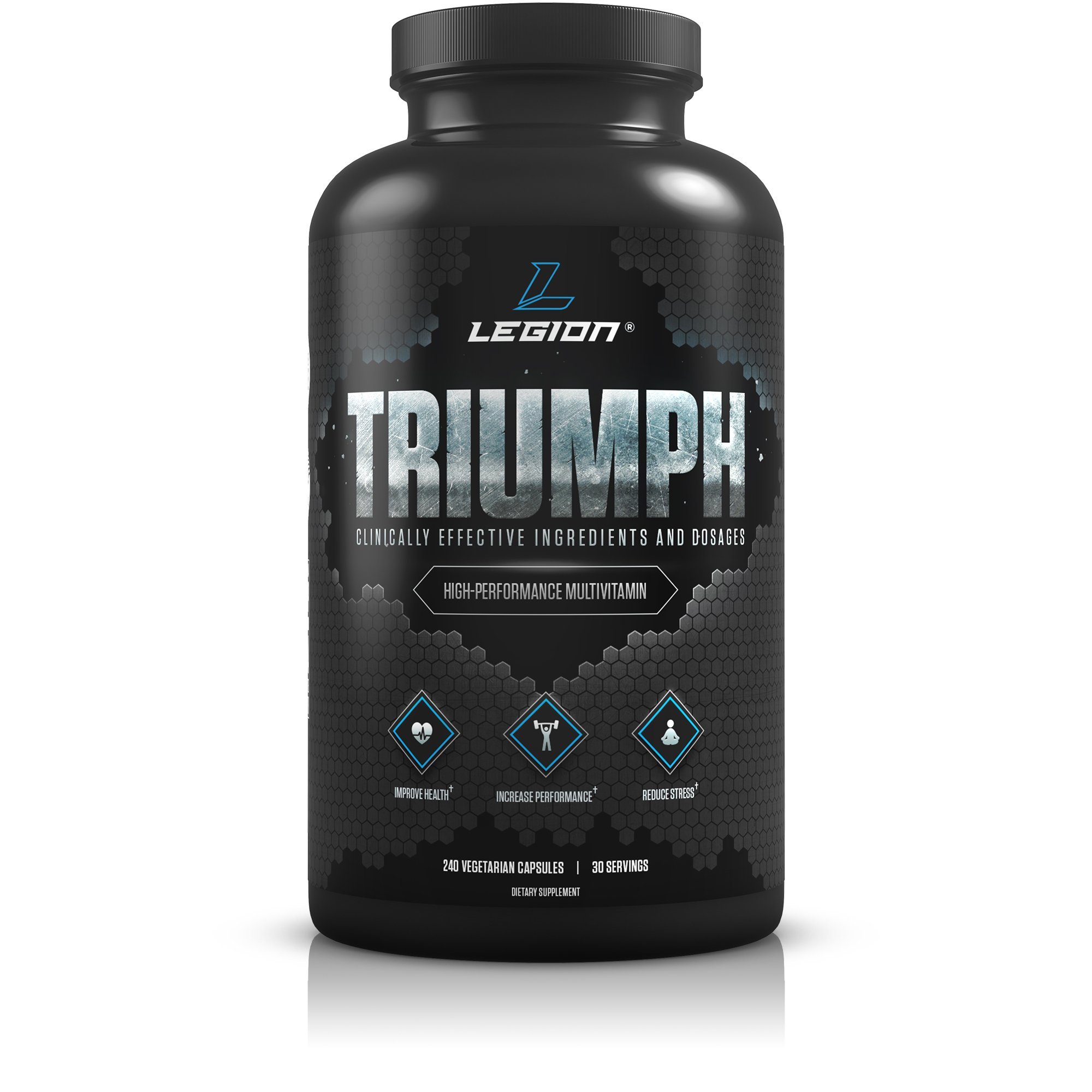Legion Triumph Daily Multivitamin Supplement - Vitamins and Minerals for Anxiety, Depression, Stress, Immune System, Heart Health, Energy, Sports & Bodybuilding Workouts. 30 Svgs.