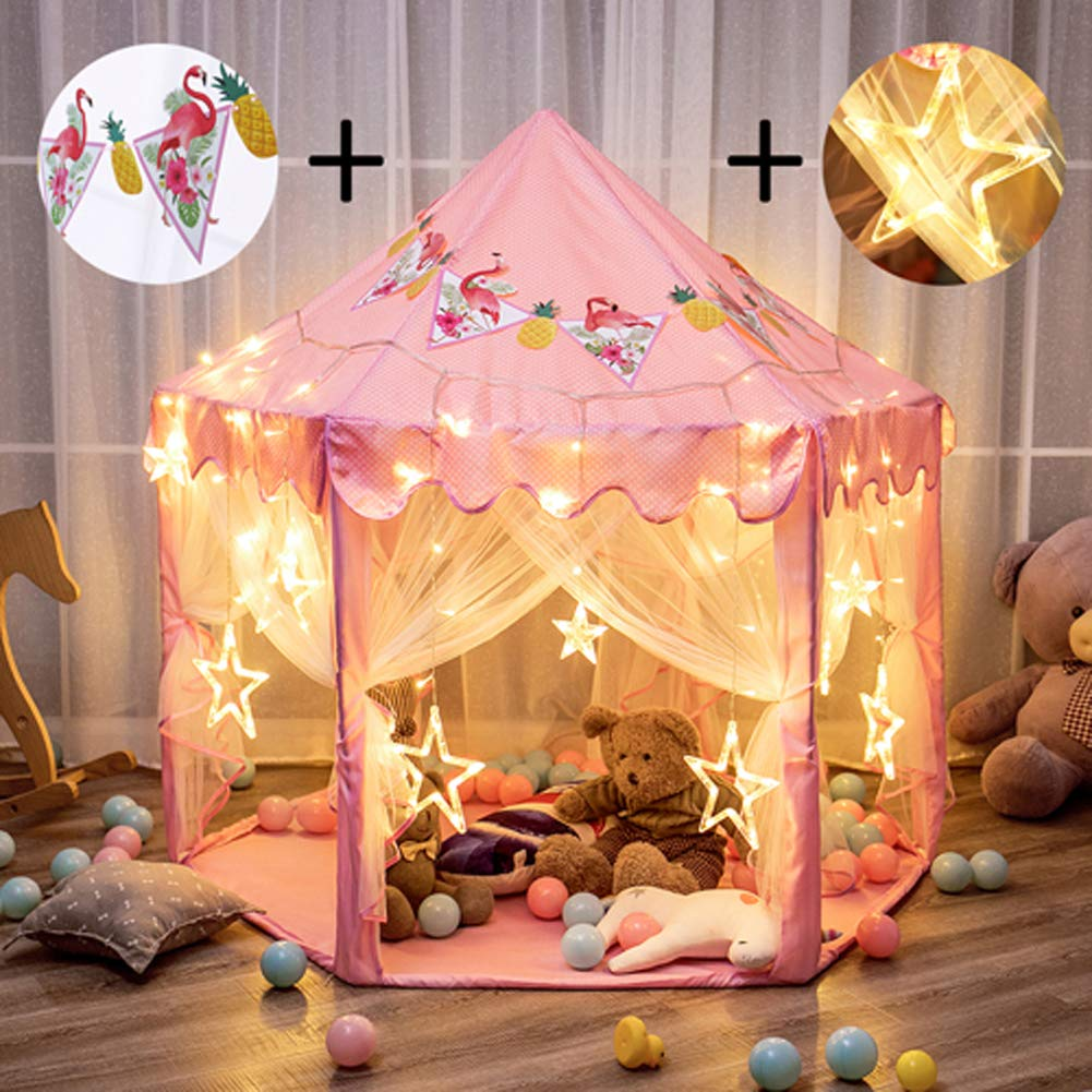 "Twinkle Star 55""x 53"" Princess Castle Play Tent Girls Playhouse with 138 LED Star String Lights and Banners Decor, Kids Game House for Indoor Outdoor Game(Pink)"