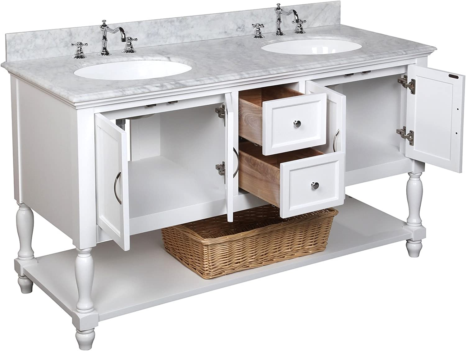Amazon Com Beverly 60 Inch Double Bathroom Vanity Carrara White Includes White Cabinet With Authentic Italian Carrara Marble Countertop And White Ceramic Sinks Home Improvement