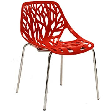 Amazoncom Modway Stencil Dining Side Chair in Red Chairs