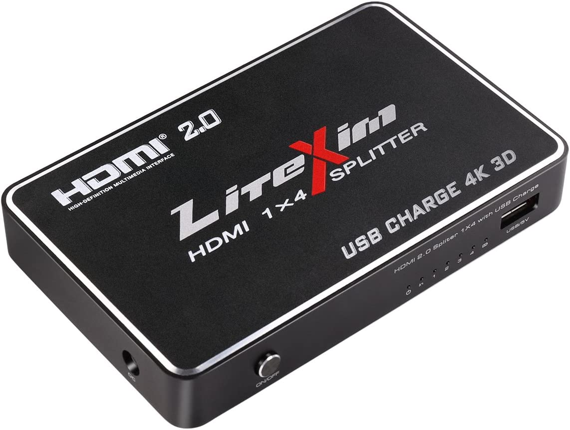 HDMI 2.0 Splitter, LiteXim 1x4 HDMI Splitter with USB Charge Powered HDMI Splitter Amplifier 1 In 4 Out Signal Distributor Certified for 4k x 2K@60Hz & 3D Support