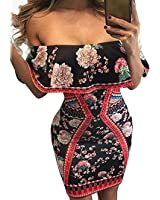 YeeATZ Dark Floral Print Ruffle Off Shoulder Dress