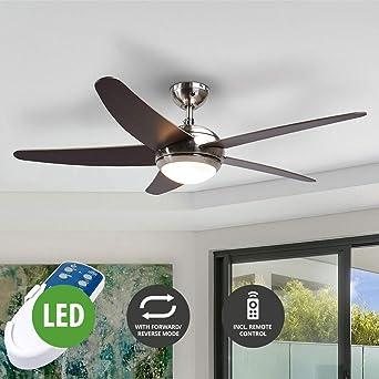 Lampenwelt LED Deckenventilator Mit Lampeu0026quot;Annekau0026quot; Fernbedienung  (Modern) Aus Holz U.a. Für