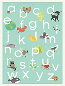 English Alphabet Children's Wall Art Print 18x24, Nature Themed, Our World in Blue, Nursery Decor, Kid's Room Decor, Gender Neutral, ABC Poster, Baby Room, Playroom