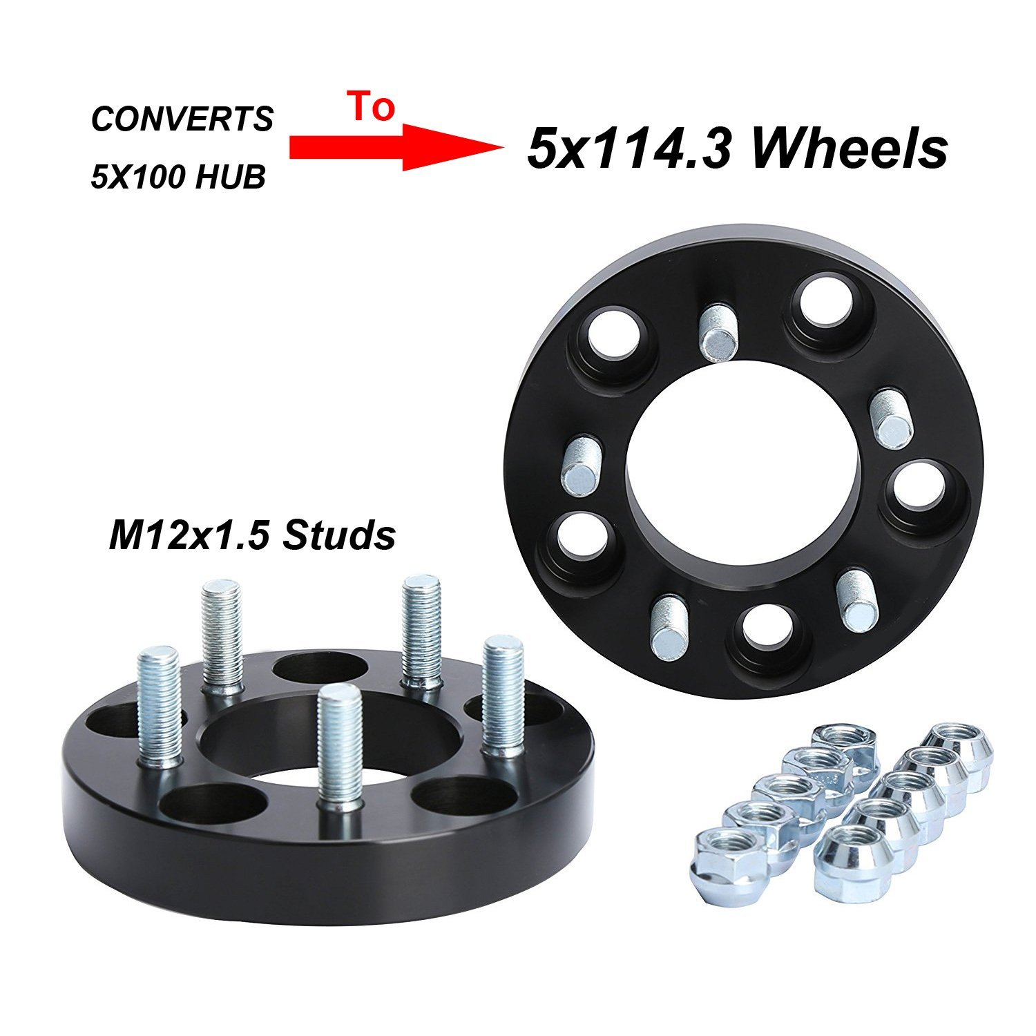KSP Chang Bolt Pattern 25mm Thread Pitch 12x1.5mm Hub Bore 64.1mm Wheel Spacers for Chevy Cavalier Lexus CT200H Scion Toyota Camry Celica Corolla Mat Goldenlion 5X100 to 5x114.3 Wheel Adapters for Toyota Dodge